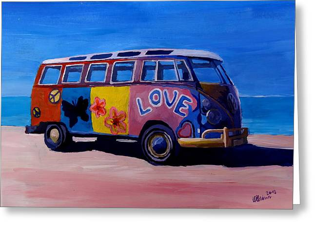 Bullie Greeting Cards - The VW Volkswagen Bulli Series - The Love Surf Bus Greeting Card by M Bleichner