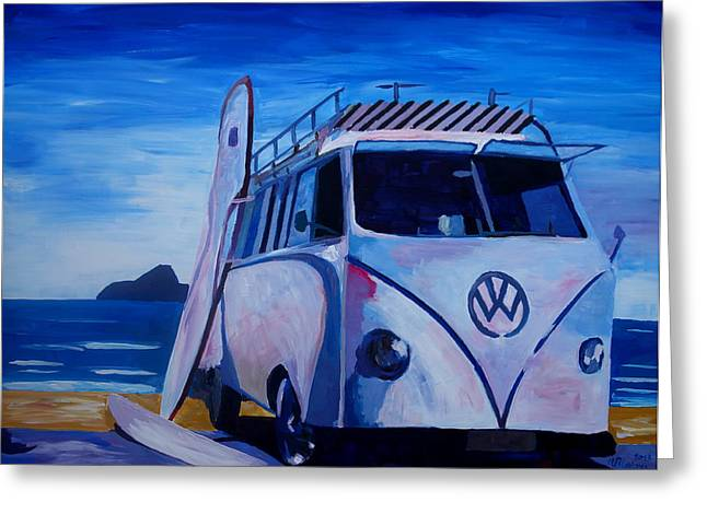 Bullie Greeting Cards - Surf Bus Series - The White Volkswagen Greeting Card by M Bleichner