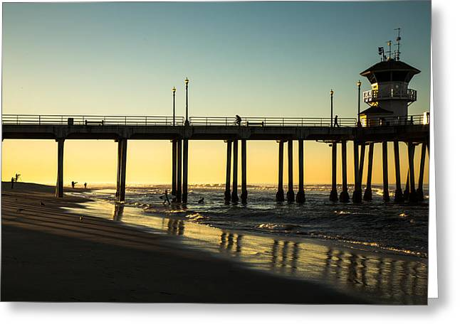 Surf Silhouette Greeting Cards - Surf City Morning Greeting Card by John Daly