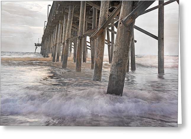 Surf City Greeting Cards - Surf City Ocean Pier Greeting Card by Betsy C  Knapp