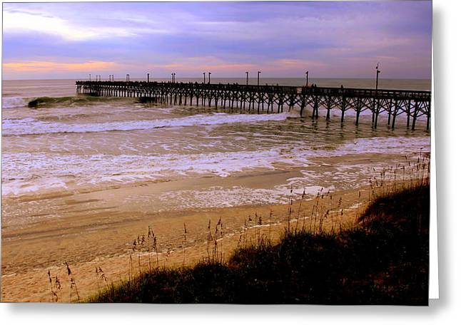 Surf City Pier Greeting Card by Karen Wiles