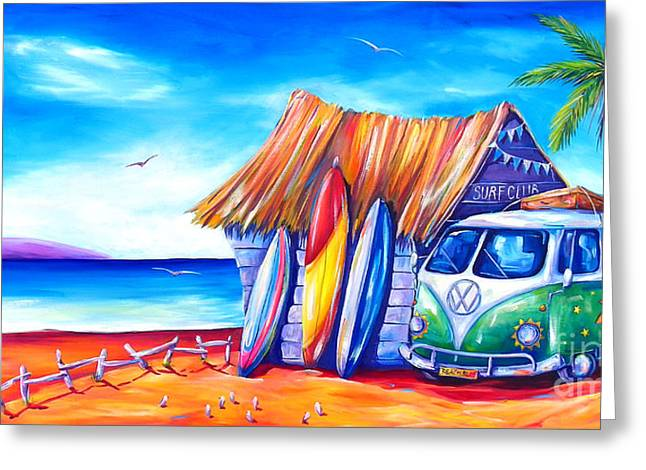 Recently Sold -  - Shack Greeting Cards - Surf Club Greeting Card by Deb Broughton