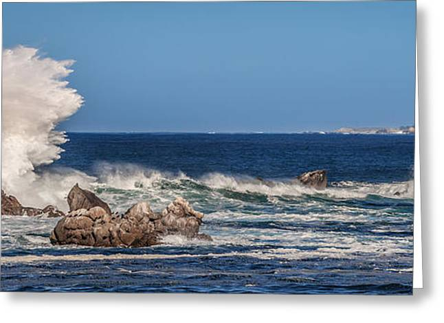 Point Lobos Greeting Cards - Surf Crashing Carmel Bay 5 Greeting Card by Mike Penney