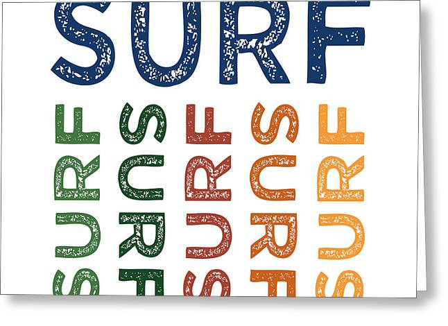 Surf Cute Colorful Greeting Card by Flo Karp