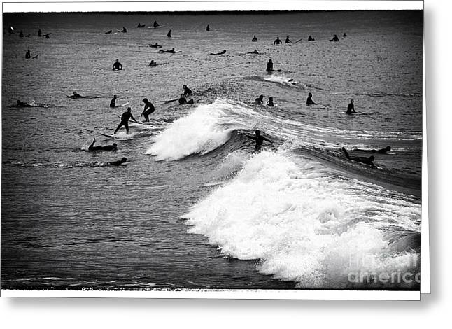 Surfing Photos Greeting Cards - Surf Day at Santa Monica Greeting Card by John Rizzuto