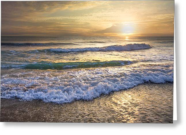 Atlantic Beaches Greeting Cards - Surf Greeting Card by Debra and Dave Vanderlaan