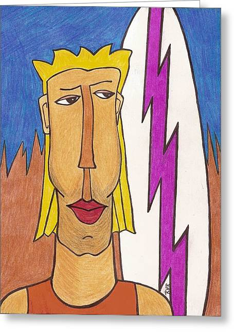 Surfer Drawings Greeting Cards - Surf Dude Greeting Card by Ray Ratzlaff