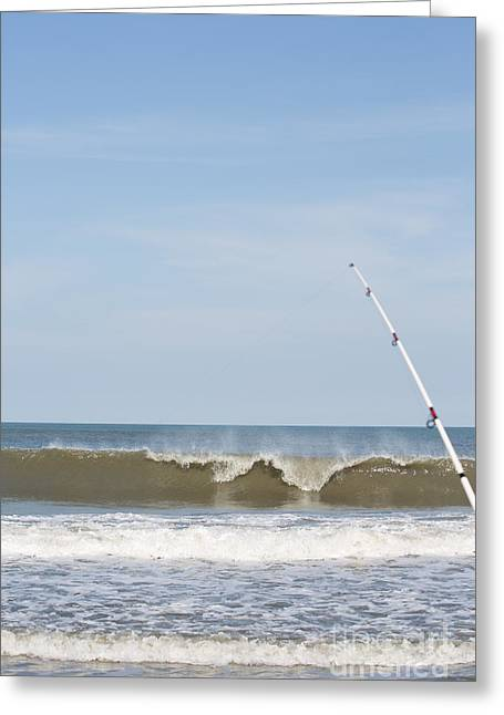 Rodanthe Greeting Cards - Surf Fishing Greeting Card by Kay Pickens