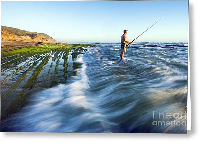 Surf Fishing, South Africa Greeting Card by Peter Chadwick