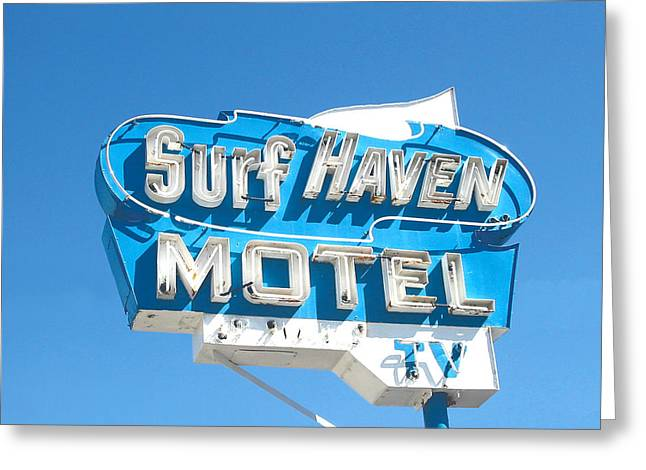 Weird New Jersey Greeting Cards - Surf Haven Motel Sign Greeting Card by John Castell