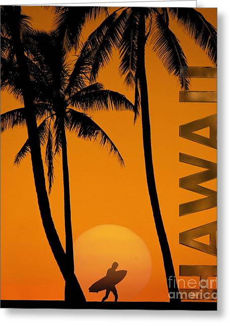 Surf Silhouette Digital Art Greeting Cards - Surf Hawaii Greeting Card by Edmund Nagele