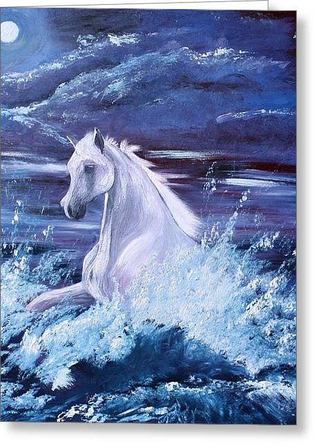 Sea Horse Greeting Cards - Surf Horse - untitled Greeting Card by Lady I F Abbie Shores