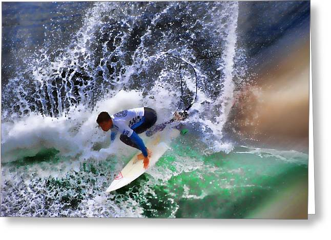Kelly Slater Greeting Cards - Surf N Spray Greeting Card by RJ Aguilar