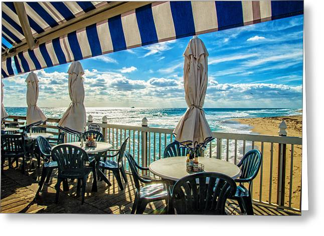 On The Beach Greeting Cards - Surf N Turf Dining Greeting Card by Lynn Bauer