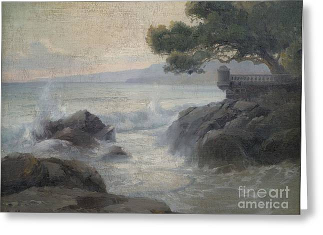 Orthodox Paintings Greeting Cards - Surf on a Rocky Coast Greeting Card by Celestial Images