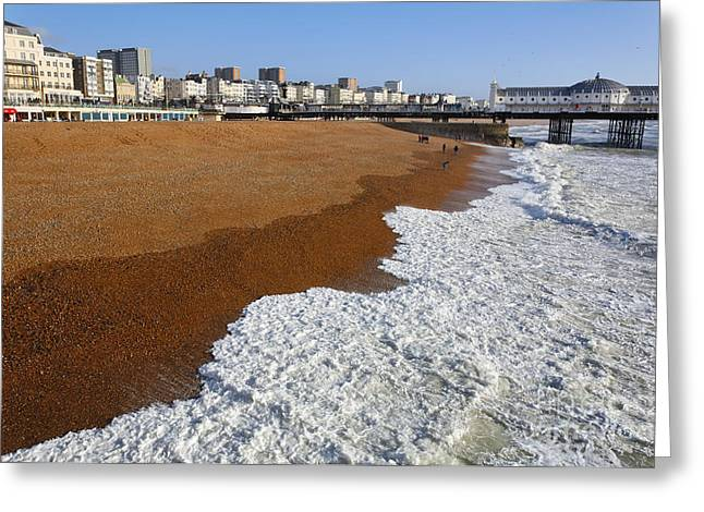 Brighton Beach Greeting Cards - Surf on Brighton Beach Greeting Card by Robert Preston