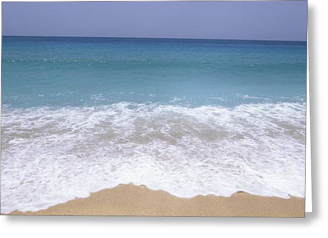 Antigua Greeting Cards - Surf On The Beach, Antigua, Antigua Greeting Card by Panoramic Images