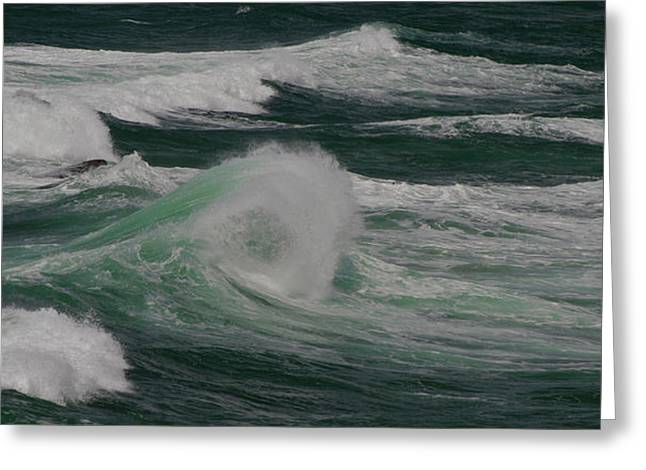 Surf On The Beach, Cape Kiwanda State Greeting Card by Panoramic Images