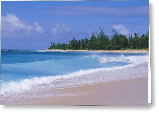 Ocean Photography Greeting Cards - Surf On The Beach, Kauai, Hawaii Greeting Card by Panoramic Images