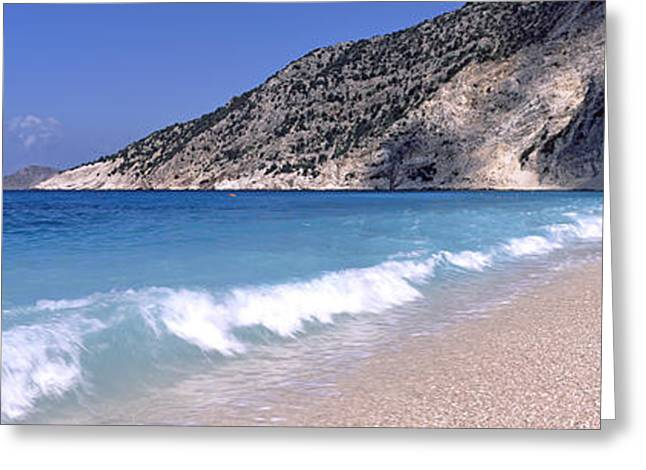 Beach Photography Greeting Cards - Surf On The Beach, Myrtos Beach Greeting Card by Panoramic Images
