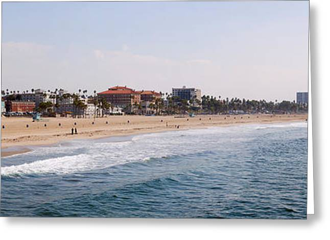 California Beach Greeting Cards - Surf On The Beach, Santa Monica Beach Greeting Card by Panoramic Images