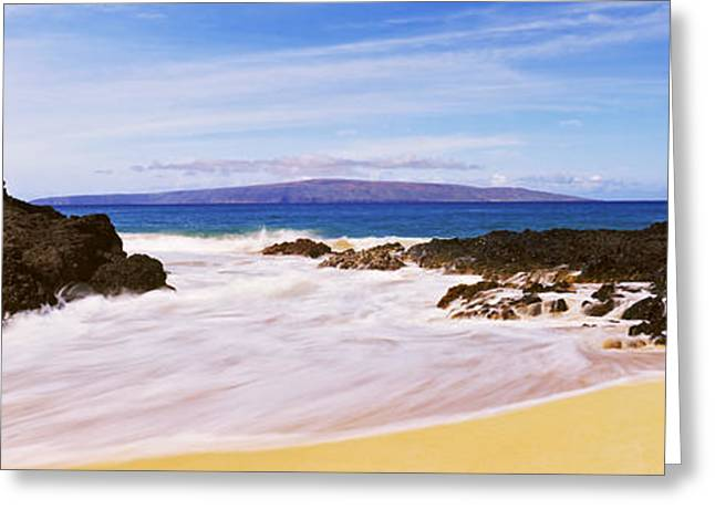 Ocean Photography Greeting Cards - Surf On The Beach,maui, Hawaii, Usa Greeting Card by Panoramic Images