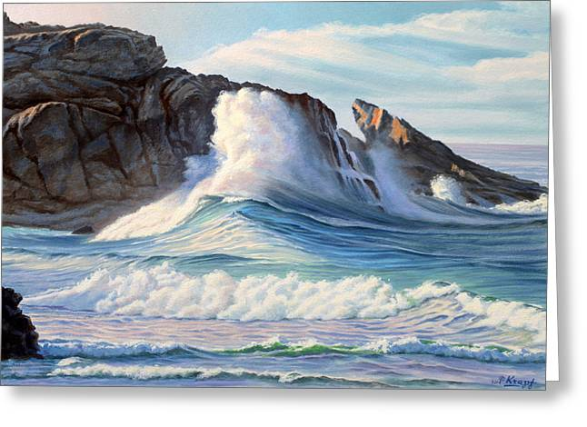 Rocky Coast Greeting Cards - Surf Greeting Card by Paul Krapf