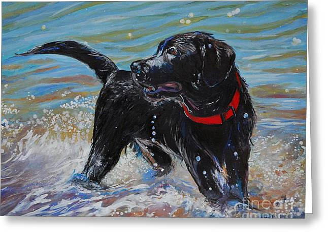 Labrador Retrievers Greeting Cards - Surf Pup Greeting Card by Molly Poole
