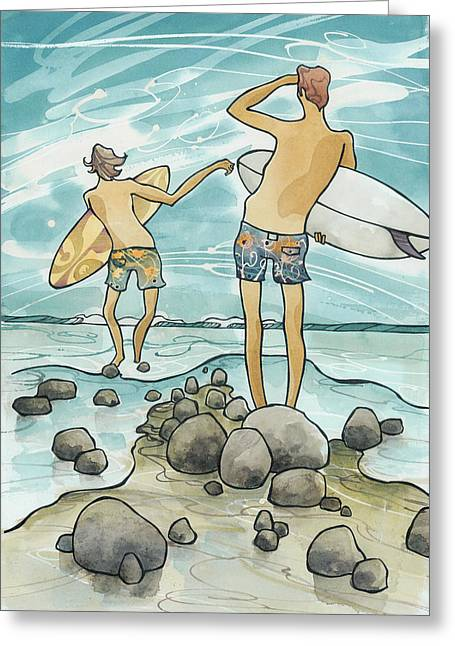 Surfer Art Greeting Cards - Surf Rocks Greeting Card by Harry Holiday