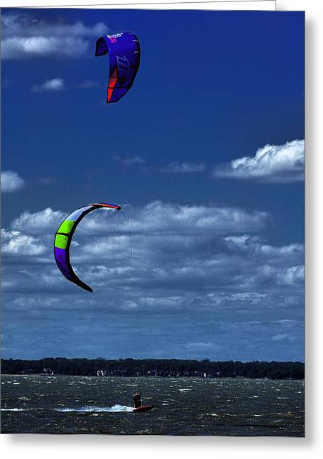 Kite Boarding Greeting Cards - Surf Sails Greeting Card by Robert McCubbin