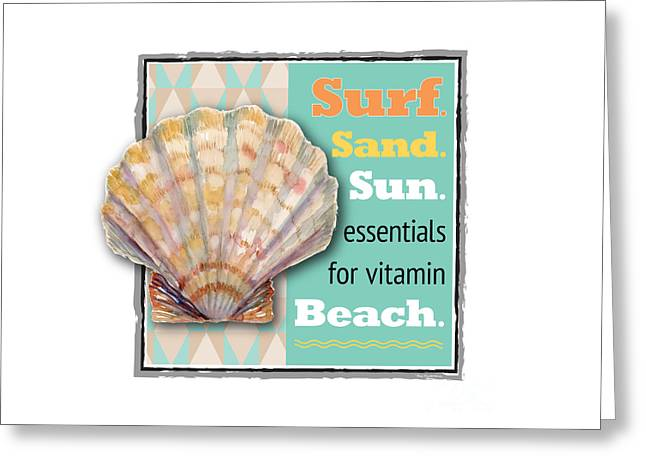 Surf. Sand. Sun. Essentials For Vitamin Beach. Greeting Card by Amy Kirkpatrick