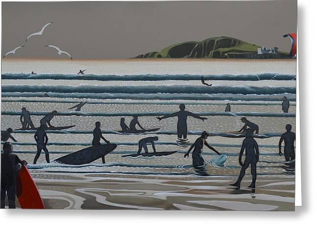 Kite Surfing Paintings Greeting Cards - Surf School 2 Bantham Greeting Card by Arthur Glendinning