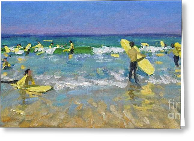 Lessons Greeting Cards - Surf School at St Ives Greeting Card by Andrew Macara