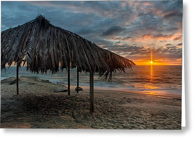 Shack Photographs Greeting Cards - Surf Shack at Sunset - Wide Format Greeting Card by Peter Tellone