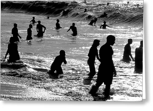 Silhouettes Greeting Cards - Surf Swimmers Greeting Card by Sean Davey