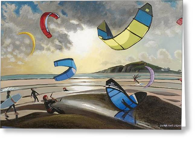 Kite Surfing Greeting Cards - Surf the Light Greeting Card by Arthur Glendinning