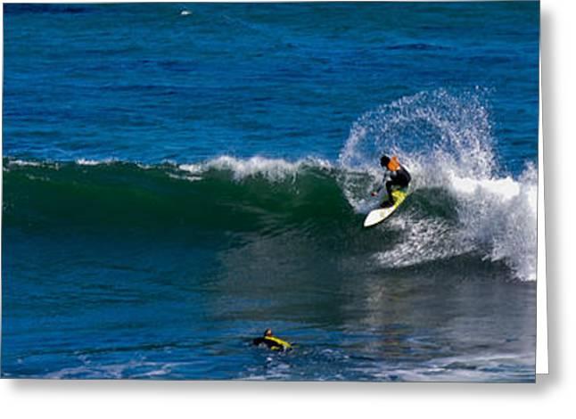 Santa Cruz Surfing Greeting Cards - Surf Town Greeting Card by Nick Garner
