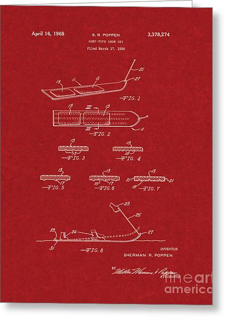 Skiing Art Posters Greeting Cards - Surf-type Snow Ski Patent - Burgundy Red Greeting Card by BJ Simpson