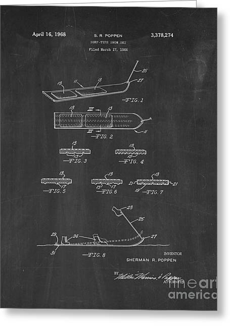 Skiing Art Posters Greeting Cards - Surf-type Snow Ski Patent - Chalkboard Greeting Card by BJ Simpson
