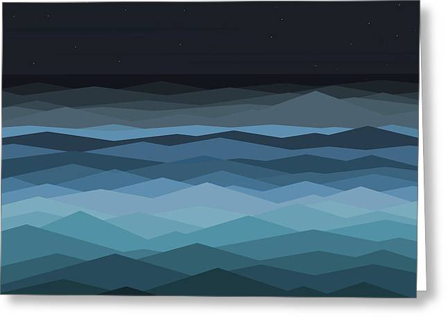 Beach At Night Digital Art Greeting Cards - Surf Greeting Card by Val Arie