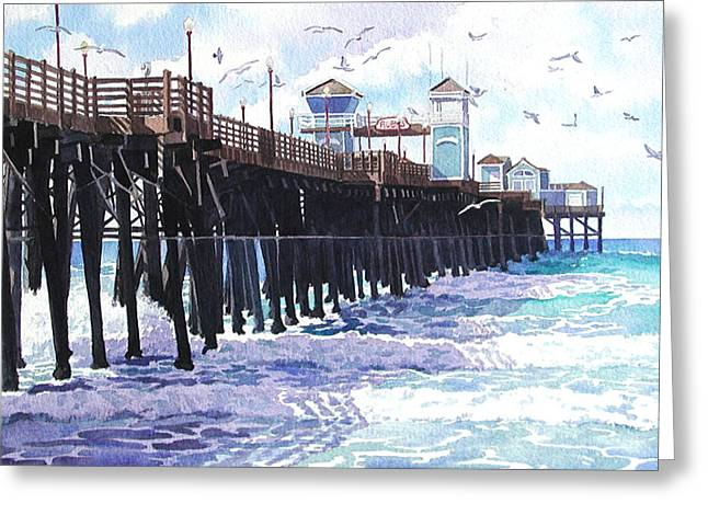 Pacific Greeting Cards - Surf View Oceanside Pier California Greeting Card by Mary Helmreich