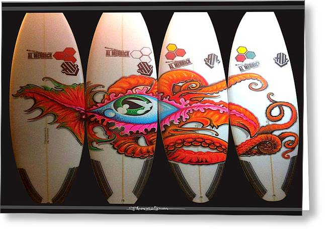 Surfing Art Greeting Cards - Surfboard Art Octopus Greeting Card by MarceloSouza TattoosnGraphx