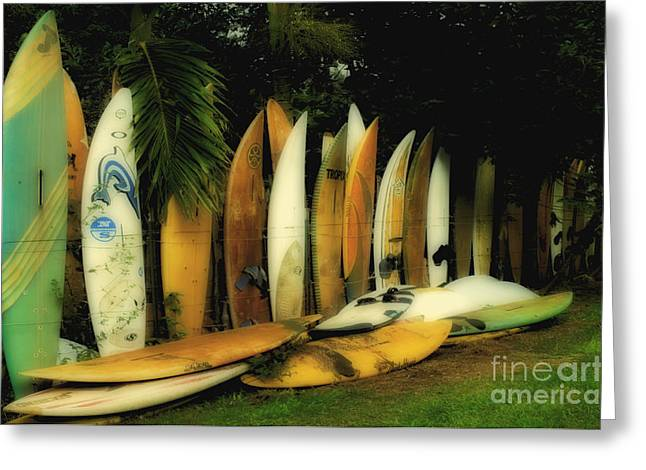 Surfing Photos Greeting Cards - Surfboard Fence Hawaii 2 Greeting Card by Bob Christopher