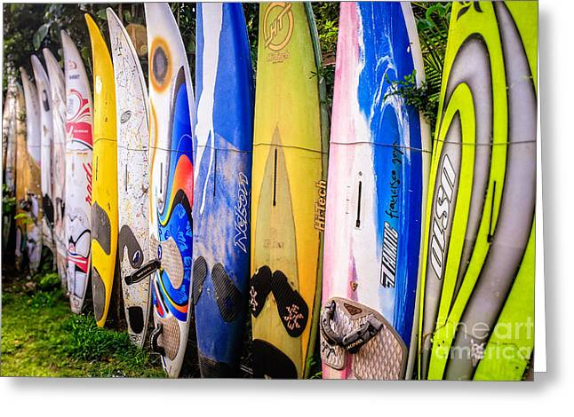 Board Fence Greeting Cards - Surfboard Fence Maui Hawaii Greeting Card by Edward Fielding