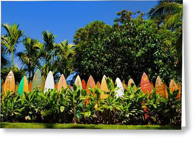 Panoramic Ocean Greeting Cards - Surfboard Fence - Maui Greeting Card by Paulette B Wright