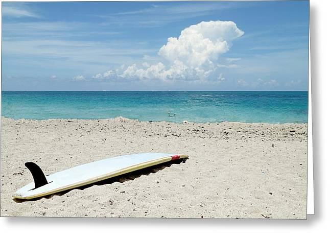 Ocean Images Greeting Cards - Surfboard on Beach Greeting Card by Rudy Umans