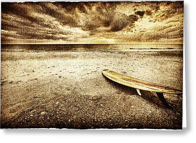 Surf Lifestyle Greeting Cards - Surfboard On The Beach 2 Greeting Card by Skip Nall
