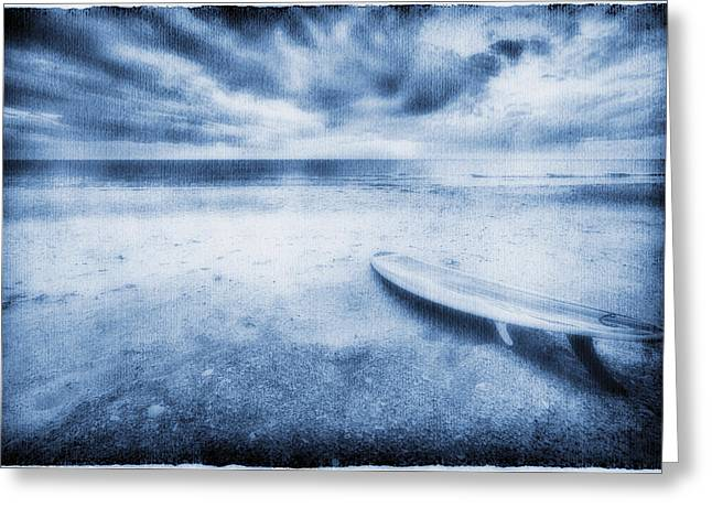 Surf Lifestyle Greeting Cards - Surfboard On The Beach Greeting Card by Skip Nall