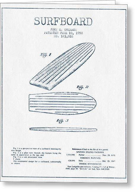 Surfing Art Greeting Cards - Surfboard patent drawing from 1958 -  Blue Ink Greeting Card by Aged Pixel