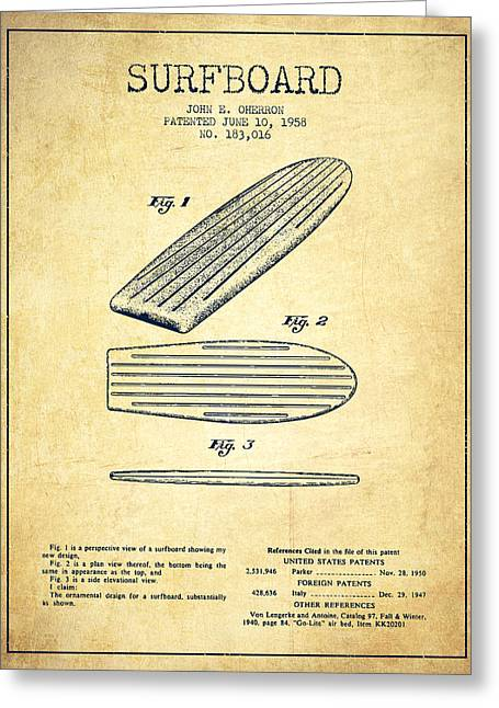 Surfer Art Greeting Cards - Surfboard patent drawing from 1958 - Vintage Greeting Card by Aged Pixel